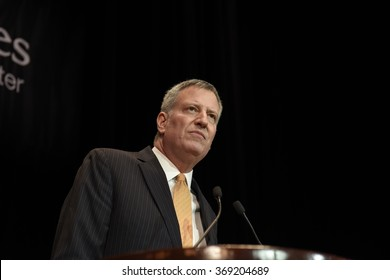 NEW YORK CITY - JANUARY 27 2015: Maimonides Medical Center's annual gala at the Waldorf-Astoria honored outgoing CEO Pam Brier. NYC mayor Bill de Blasio
