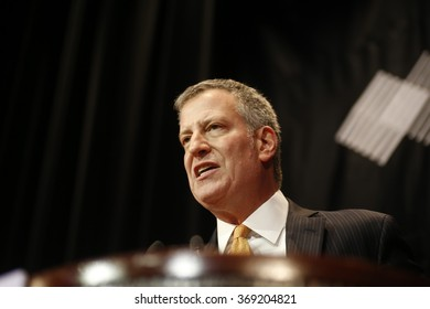 NEW YORK CITY - JANUARY 27 2015: Maimonides Medical Center's annual gala at the Waldorf-Astoria honored outgoing CEO Pam Brier. Mayor de Blasio addresses rally.