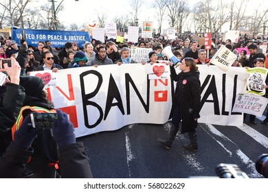 NEW YORK CITY - JANUARY 29 2017: thousands gathered in Battery Park to protest President Trump's immigration ban & march to Foley Square.
