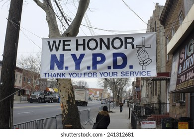 NEW YORK CITY - JANUARY 3 2015:Mayor De Blasio & NYPD Commissioner William Bratton led mourners in a formal viewing for slain NYPD officer Wenjin Liu at Aievoli Funeral Home in Dyker Heights, Brooklyn