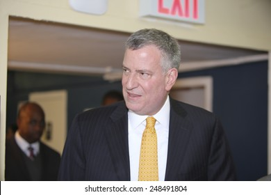 NEW YORK CITY - JANUARY 30 2015: Mayor De Blasio conducted a tour of & held a press conference at Van Dyke House to announce a new director of the Young Men's Initiative.