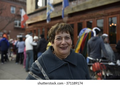 NEW YORK CITY - JANUARY 30 2016: the 12th annual Idiotard race began in Manhattan's LES & ended in Gowanus, Brooklyn. Red Hook resident Dvorah comments on celebrating Idiotards
