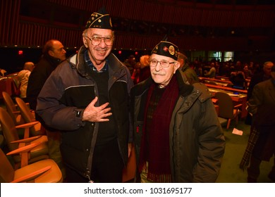NEW YORK CITY - JANUARY 31 2018: The United Nations General Assembly observed Holocaust Remembrance Day with attendance by liberators & victims of the Holocaust. US Army Jewish War Veterans