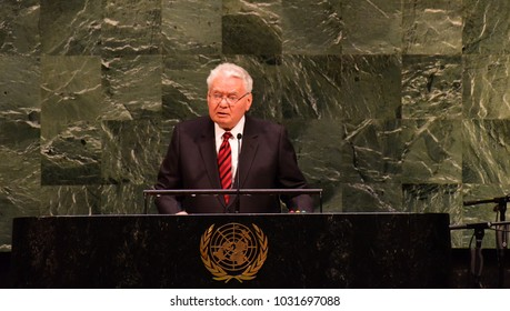 NEW YORK CITY - JANUARY 31 2018: The United Nations General Assembly observed Holocaust Remembrance Day  attendance by liberators & victims of the Holocaust. Keynote speaker Judge Thomas Buergenthal