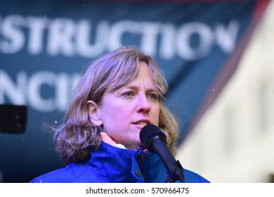 NEW YORK CITY - JANUARY 31 2017: Thousands of union & non-union construction workers rallied by City Hall to urge passage of bill 1447 to improve safety. Queens borough president Melinda Katz