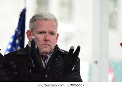 NEW YORK CITY - JANUARY 31 2017: Thousands of union & non-union construction workers rallied by City Hall to urge passage of bill 1447 to improve safety. City council member Jimmy Van Bramer