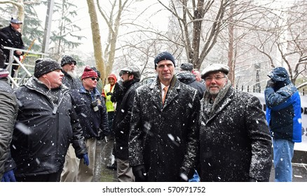 NEW YORK CITY - JANUARY 31 2017: Thousands of union & non-union construction workers rallied by City Hall to urge passage of bill 1447 to improve safety