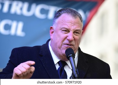 NEW YORK CITY - JANUARY 31 2017: Thousands of union & non-union construction workers rallied by City Hall to urge passage of bill 1447 to improve safety. Gary LaBarbera, Pres Construction Trades