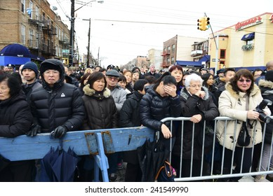 NEW YORK CITY - JANUARY 4 2015: several thousand police officers from all over North America attended funeral services for slain NYPD officer Wenjian Liu in Brooklyn