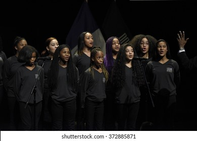 NEW YORK CITY - JANUARY 4 2016:  Bill de Blasio delivered his third state of the city address at Lehman College in The Bronx. Renaissance Children's choir sings Star Spangled Banner