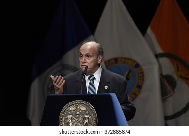 NEW YORK CITY - JANUARY 4 2016:  Bill de Blasio delivered his third state of the city address at Lehman College in The Bronx. Lehman College president Ricardo Fernandez