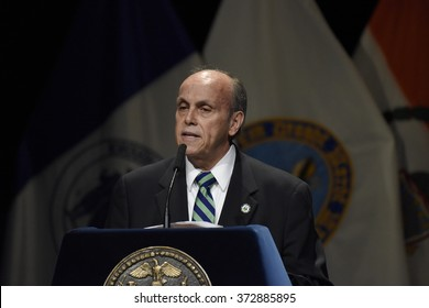 NEW YORK CITY - JANUARY 4 2016:  Bill de Blasio delivered his third state of the city address at Lehman College in The Bronx. Lehman president Ricardo Fernandez.