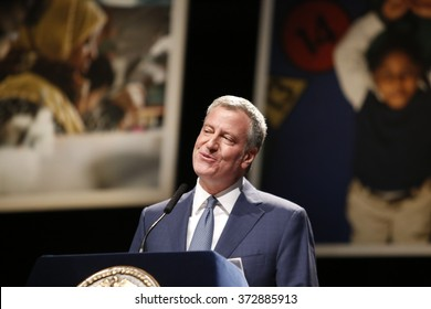 NEW YORK CITY - JANUARY 4 2016:  Bill de Blasio delivered his third state of the city address at Lehman College in The Bronx. Mayor de Blasio at podium
