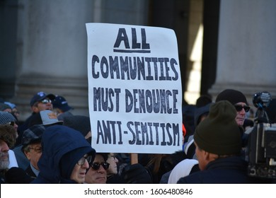 New York City, January 5, 2020: People marching from Manhattan to Brooklyn against the rise in antisemitism in New York.