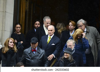 NEW YORK CITY - JANUARY 6 2015: funeral services were held for former New York governor Mario Cuomo at St. Ignatius Loyola Church. Former mayor David Dinkins with former police commissioner Ray Kelly