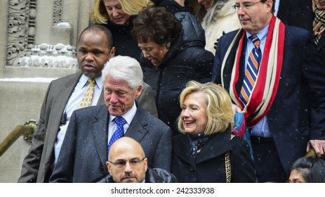 NEW YORK CITY - JANUARY 6 2015: funeral services were held for former New York governor Mario Cuomo at St. Ignatius Loyola Church on Manhattan's Upper East Side. Bill & Hillary Clinton,