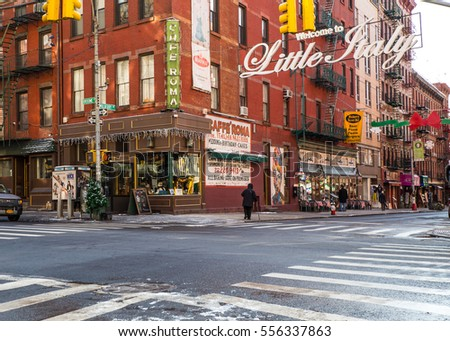 NEW YORK CITY - JANUARY 6, 2016:  New York Street scene view of Little Italy in lower Manhattan, NYC