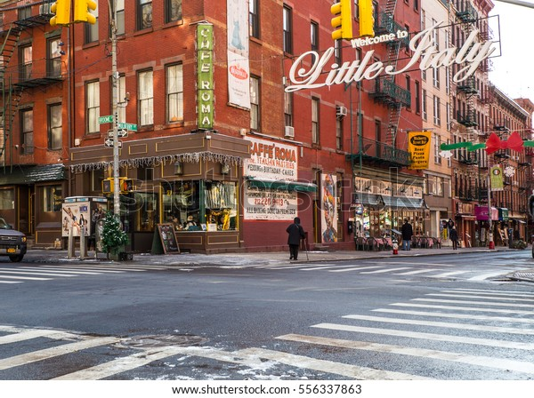 NEW YORK CITY - JANUARY 6, 2016:  New York Street scene view of Little Italy in lower Manhattan, NYC