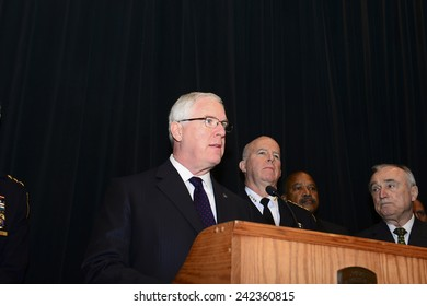 NEW YORK CITY - JANUARY 7 2015: NYPD commissioner Bratton held a press conference to the media on the condition of injured officers, charges against their assailants & preparedness for terror attacks.