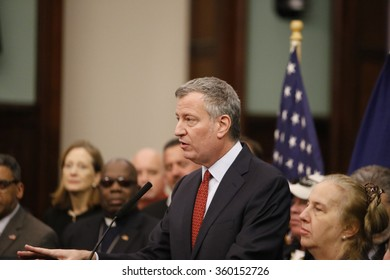 NEW YORK CITY - JANUARY 9 2016: Mayor de Blasio joined fire fighters in city council chambers to celebrate extension of the Zadroga Act & honor fire fighter Ray Pfeifer