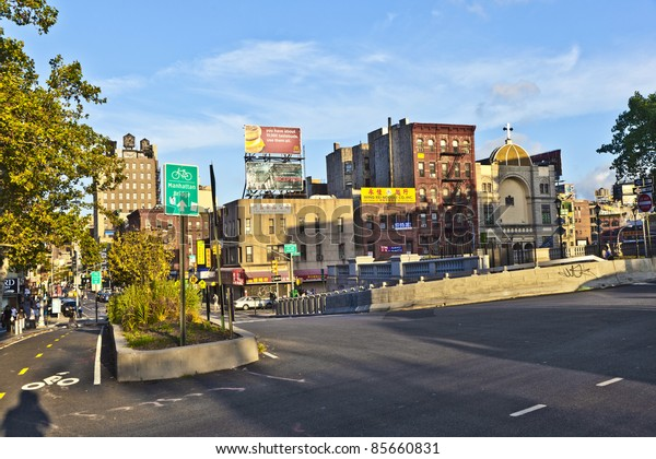 NEW YORK CITY - JULY 09: Sunset at Forsyth street on July 09, 2011 in New York City. The street was named in 1817 for Lt. Colonel Benjamin Forsyth.