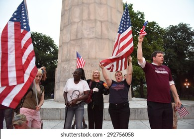 NEW YORK CITY - JULY 1 2015: dozens of military veterans, bikers, police & park service appeared at Fort Greene Park for a scheduled flag burning protest by Disarm NYPD. Scuffles ensued but no arrests
