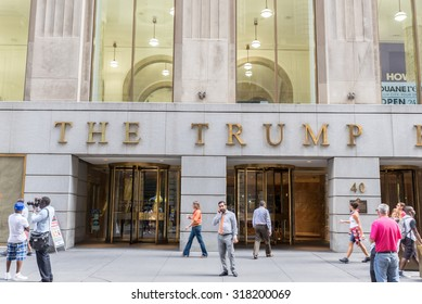 NEW YORK CITY - JULY 10: Facade 40 Wall Street (The Trump Building) on July 10, 2015 in NYC. Most headquarters of many  American exchanges NYSE, NASDAQ, AMEX, NYMEX, NYBOT are  run from Wall Street.