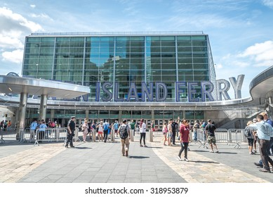 NEW YORK CITY - JULY 10: The Staten Island Ferry Whitehall Terminal in Manhattan on July 10, 2015.