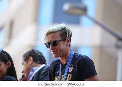 NEW YORK CITY - JULY 11 2015: a ticker tape parade was held for the champion US women's FIFA team along Canyon of Heroes on Broadway. Women's FIFA player Amy Wambach