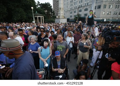 NEW YORK CITY - JULY 11 2016: Hundreds gathered at Brooklyn's Grand Army Plaza for a vigil sponsored by the Diocese of Brooklyn in memorial to victims of recent violence.
