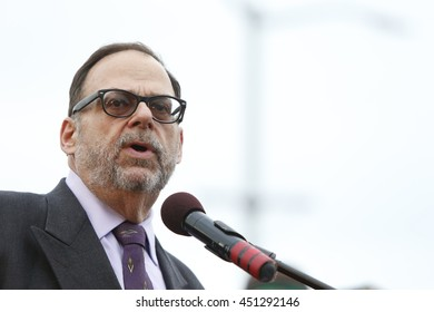 NEW YORK CITY - JULY 11 2016: Hundreds gathered at Brooklyn's Grand Army Plaza for a vigil sponsored by the Diocese of Brooklyn in memorial to victims of recent violence. Bob Kaplan