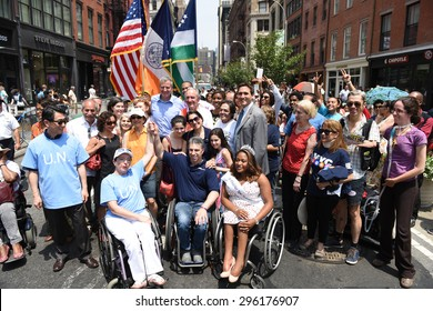 NEW YORK CITY - JULY 12 2015: Mayor Bill de Blasio & former US senator Tom Harkin led the first ever NYC Disability Pride Parade from Madison Square Park to Union Square