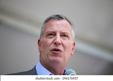 NEW YORK CITY - JULY 12 2015: Mayor Bill de Blasio & former US senator Tom Harkin led the first ever NYC Disability Pride Parade from Madison Square Park to Union Square. Mayor Bill de Blasio.
