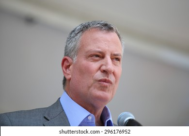 NEW YORK CITY - JULY 12 2015: Mayor Bill de Blasio & former US senator Tom Harkin led the first ever NYC Disability Pride Parade from Madison Square Park to Union Square. Mayor Bill de Blasio