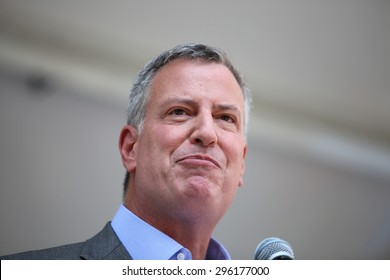 NEW YORK CITY - JULY 12 2015: Mayor Bill de Blasio & former US senator Tom Harkin led the first ever NYC Disability Pride Parade from Madison Square Park to Union Square. Mayor Bill de Blasio,