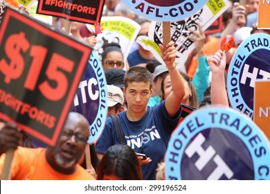 NEW YORK CITY - JULY 12 2015: organized labor, fast food workers & elected officials gathered on Barclay St. to celebrate the NY wage board's recommendation for a $15/hr minimum wage statewide by 2021