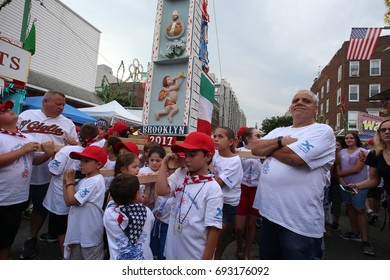 NEW YORK CITY - JULY 12 2017: Our Lady of Mount Carmel staged its annual Children's Giglio Lift in Williamsburg, Brooklyn