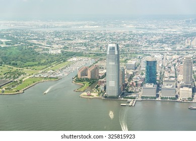 NEW YORK CITY - JULY 13: Aerial view on Jersey City on July 13, 2015 in New York. Jersey City is the second-most populous city in the U.S. state of New Jersey.
