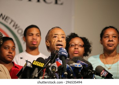 NEW YORK CITY - JULY 14 2015: Al Sharpton staged a press conference at National Action Network headquarters with Eric Garner's family to announce action on behalf of the anniversary of Garner's death