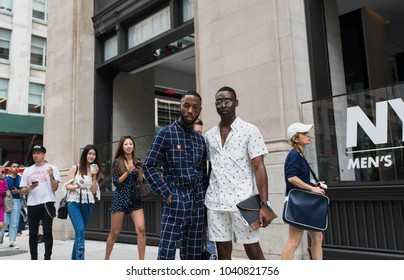NEW YORK CITY, NEW YORK - JULY 16, 2017: Models posing outside of the Cadillac House during New York Fashion Week.