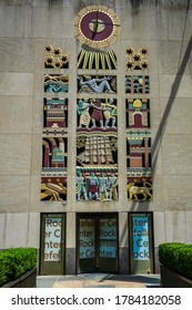 NEW YORK CITY - JULY 16, 2020: Lee Lawrie's stone screen at the International Building's 50th Street entrance at Rockefeller Center in Midtown Manhattan