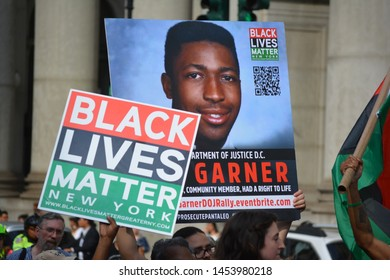 New York City - July 17, 2019: Protesters marking the fifth anniversary of Eric Garners death a day  after federal prosecutors announced their decision no to prosecute any officers in Lower Manhattan.