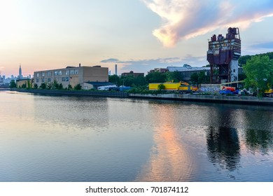 New York City - July 17, 2017: Newtown Creek between Greenpoint, Brooklyn and Maspeth, Queens in New York City.