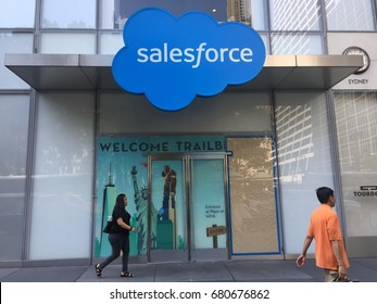 NEW YORK CITY - JULY 18, 2017: Salesforce Tower exterior and logo. Salesforce.com inc. (CRM) is American cloud computing company revenue CRM customer relationship management. Marc Benioff NYSE: CRM