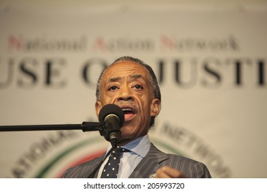 NEW YORK CITY - JULY 19 2014: Reverend Al Sharpton's National Action Network held a rally in its Harlem headquarters demanding justice for the death of Staten Island resident Eric Garner by the NYPD