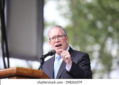 NEW YORK CITY - JULY 19 2015: National Action Network & SEIU members staged a rally to mark the anniversary of Eric Garner's death in Cadman Plaza, Brooklyn. NYC comptroller Scott Stringer