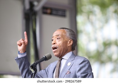 NEW YORK CITY - JULY 19 2015: National Action Network & SEIU members staged a rally to mark the anniversary of Eric Garner's death in Cadman Plaza, Brooklyn. Rev Al Sharpton of NAN