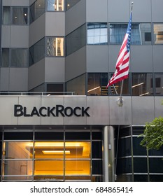 New York City, New York - July 19, 2017 Manhattan headquarters of BlackRock, Inc, an American investment management corporation based in New York City