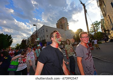 NEW YORK CITY - JULY 2 2017: The 11th Annual Zombie Crawl NYC filled Williamsburg & Greenpoint with hordes of sodden undead.