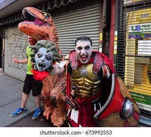 NEW YORK CITY - JULY 2 2017: The 11th Annual Zombie Crawl NYC filled Williamsburg & Greenpoint with hordes of sodden undead. Undead Perseus with head of gorgon, Medusa